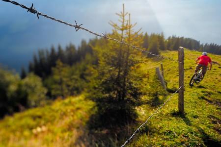 Mountain biking image shot with a tilt shift lens.