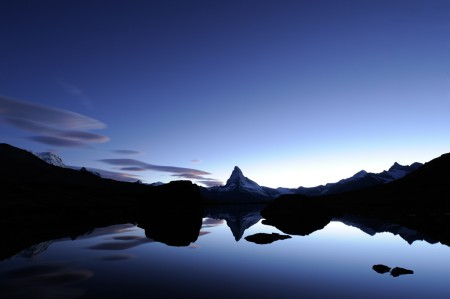 Photograph of the lake Stellisee in Zermatt, Switzerland