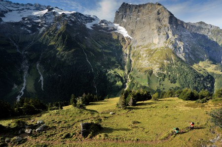 Photo of two riders mountain biking in Engelberg