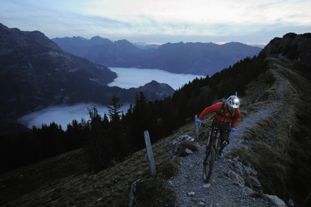 Freeriding on the ridge at dusk, Haldigrat, Switzerland
