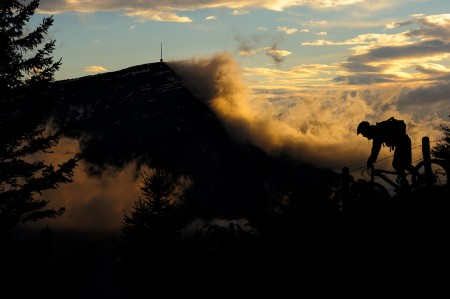 Silhouette of mountain biker.